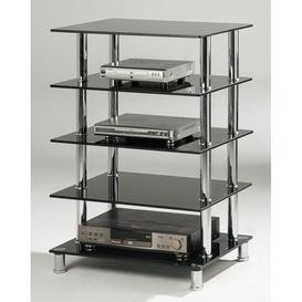 image-Pippino Black 5 Shelves Hifi Unit