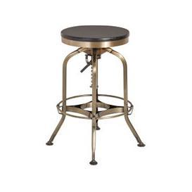 image-Diwo Metallic Bar Stool With Wooden Seat In Ash