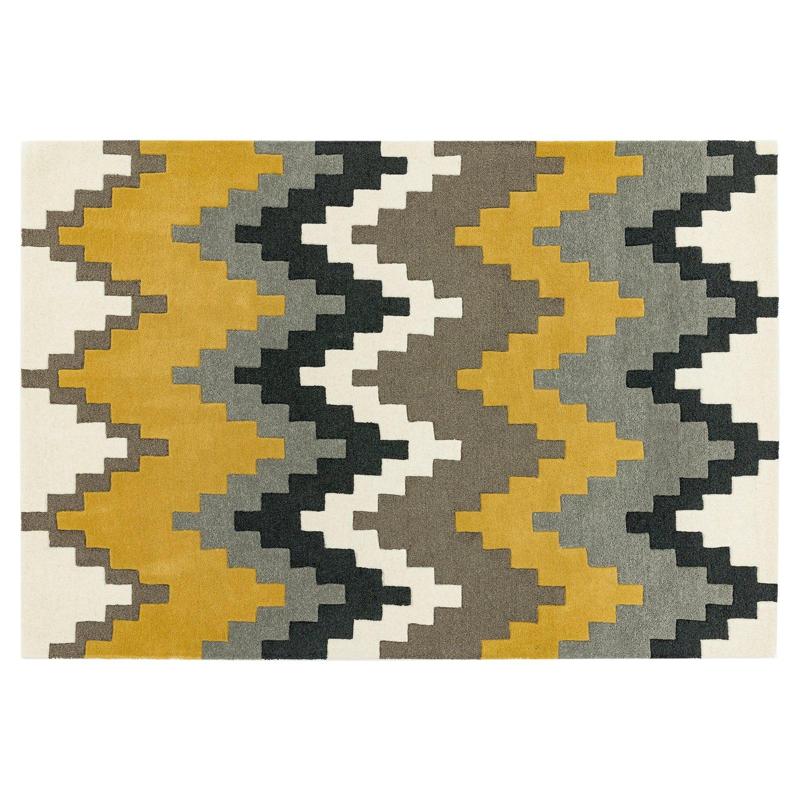 image-Guzzo Wool Rug, 80X150 cm, Mustard