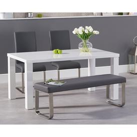 image-Atlanta 160cm White High Gloss Dining Table with Malaga Chairs and Atlanta Grey Bench - Ivory, 2 Chairs