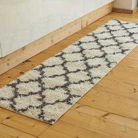 image-Cream Moroccan Trellis Shaggy Runner Rug - Florence
