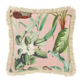 image-Wonder Plant Botanical Printed Pink Fringed Cushion with Tropical...