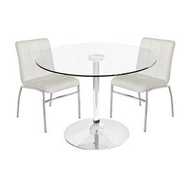 image-Chet Dining Set with 2 Chairs Metro Lane Colour (Chair): Ivory