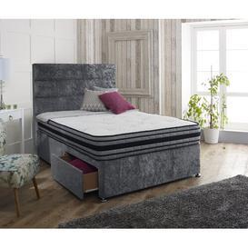 image-Hyde Upholstered Divan Bed and Headboard Rosdorf Park Colour: Glitz Grey, Size: Kingsize (5'), Storage Type: 2 Drawers Same Side