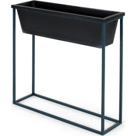 image-Noor Free Standing High Galvanized Iron Rectangular Plant Stand, Black & Teal