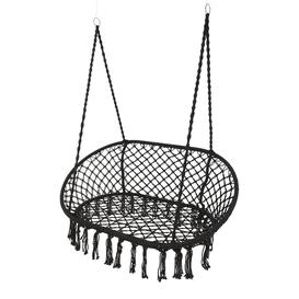 image-A by AMARA - Outdoor Hanging 2 Seat Chair with Fringing - Black