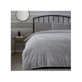 image-Grey Cable Knit Duvet Cover and Pillowcase Set Grey