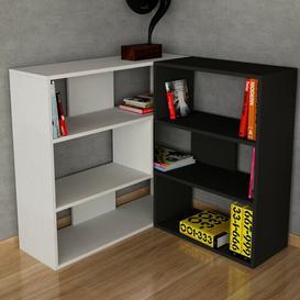 image-Corner Bookcase Symple Stuff Colour: White/Black