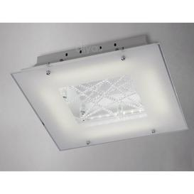 image-Diyas IL80050 Felix LED Chrome And Frosted Glass Flush Ceiling Light