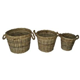 image-3 Piece Rattan Log Basket Set with Rope Handle Breakwater Bay