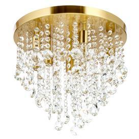 image-Turin 9 Light Semi Flush Circular Bathroom Ceiling Light - Satin Brass
