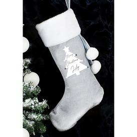 image-Personalised Christmas Tree Luxury Silver Grey Stocking