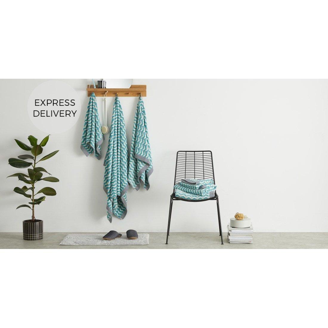 image-Bevel Set of 2 Bath Towels, Azure Blue