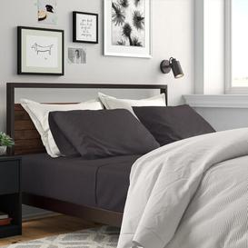 image-Theodosia 144 Thread Count Satin Flat Sheet Zipcode Design Size: Super King (6'), Colour: Charcoal