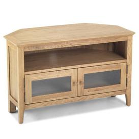 image-Wardle Wooden Corner TV Unit In Crafted Solid Oak With 2 Doors