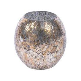 image-Libra Metallic Mosaic Platinum Large Round Candle Holder - Xmas-18