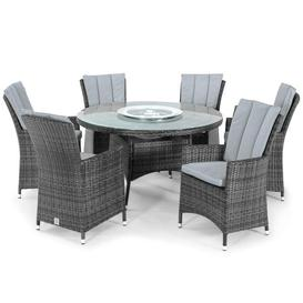image-Maze Rattan LA 6 Seater Grey Round Outdoor Dining Set with Ice Bucket and Lazy Susan