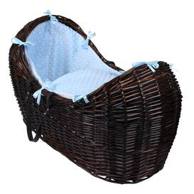 image-Dimple Moses Basket Clair De Lune Colour: Blue, Finish: Dark Brown