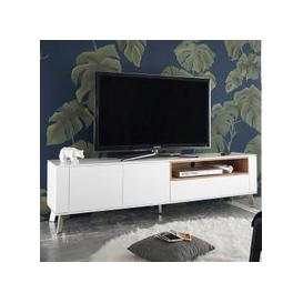 image-Kristy TV Stand In Matt White With Brushed Steel Legs
