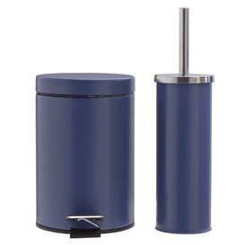 image-Argos Home Slow Close Bin and Toilet Brush Set - Navy