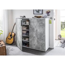 image-Leocadia 24 Pair Shoe Storage Cabinet Ebern Designs Finish: White/Grey