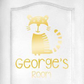 image-Personalised Tiger Kids Door Room Wall Sticker Happy Larry Colour: Shiny Gold