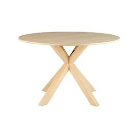 image-Solid Oak Round 6-Seater Dining Table D 127 cm Mona