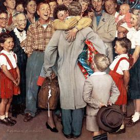 image-'Christmas Homecoming' by Norman Rockwell - Wrapped Canvas Graphic Art Print East Urban Home Size: 122 cm H x 122 cm W