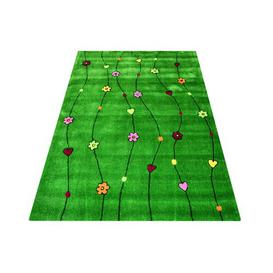 image-Kids Flowers Handmade Tufted Green Rug Bakero Rug Size: Rectangle 140 x 200cm