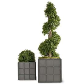 image-Fibreglass Planter Box Freeport Park Size: 70 cm H x 75 cm W x 75 cm D, Colour: Faux Lead