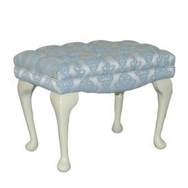 image-Loretta Dressing Table Stool Fairmont Park Upholstery: Fortuna Sand Pattern, Leg Finish: Mahogany