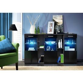 image-Dorade Display Sideboard Cabinet - Black Gloss 160cm