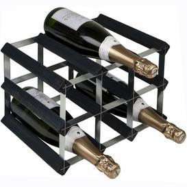 image-Barrentine 9 Bottle Wine Rack Symple Stuff Colour: Black Ash/Silver