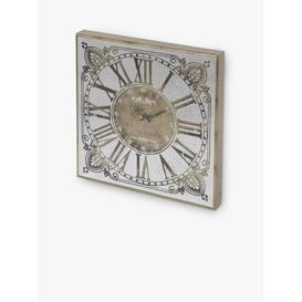 image-Libra Vienna Roman Numerals Square Mirror Wall Clock, 60cm, Antique Gold