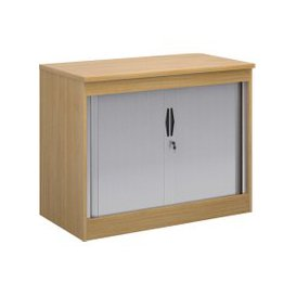 image-Multi Storage Tambour Cupboards, 102wx55dx80h (cm), Oak, Free Delivered & Fully Installed Delivery