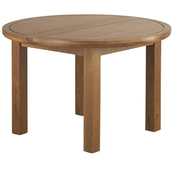 image-Rustic Solid Oak Dining Tables - 6 Seater Extendable Round Dining Table - Knightsbridge Range - Oak Furnitureland
