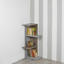 image-Tarver Corner Bookcase Ebern Designs Colour: Grey+Oak