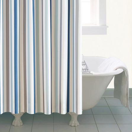 image-Nautical Bold Stripe XL Shower Curtain Blue