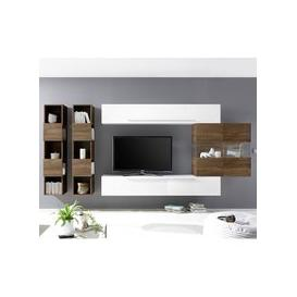image-Infra Wall TV Unit And Shelves In Dark Walnut And White Gloss