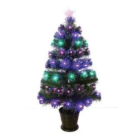 image-90cm (3 Foot) Green 85 Pink Blue LEDs Christmas Tree