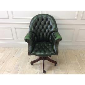 image-Antique Green Leather Directors Swivel Chair
