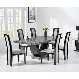 image-Mark Harris Rivilino Dark Grey 170cm Marble Dining Table & Rivilino Chairs
