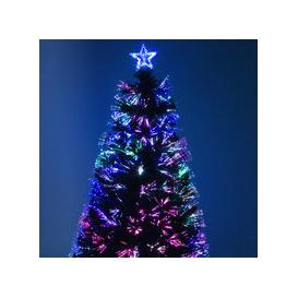 image-Green Fibre Optic Christmas Tree with Red Berries and Multi Coloured Fibre Optic Lights - 2ft, 3ft, 4ft, 5ft, 6ft [6ft / 1.8m PRE-ORDER]