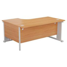 image-Courson L-Shaped Desk Brayden Studio Orientation: Right, Colour (Top): Oak, Colour (Frame): White