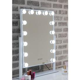 image-Hollywood Large Swivel Dressing Mirror In White High Gloss Frame