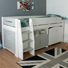 image-Urban Grey Childrens Midsleeper Bed with pull out Desk, Chest and Cupboard