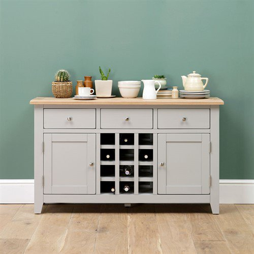 image-Chester Grey Sideboard with Wine Rack