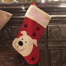 image-Dog Personalsied Christmas Stocking East Urban Home Colour: Rose Gold
