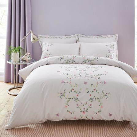 image-Sophie White Floral Embroidered Duvet Cover and Pillowcase Set White