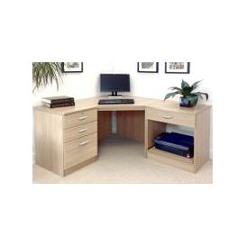 image-Small Office Corner Desk Set With 3+1 Drawers & Printer Shelf (Sandstone)